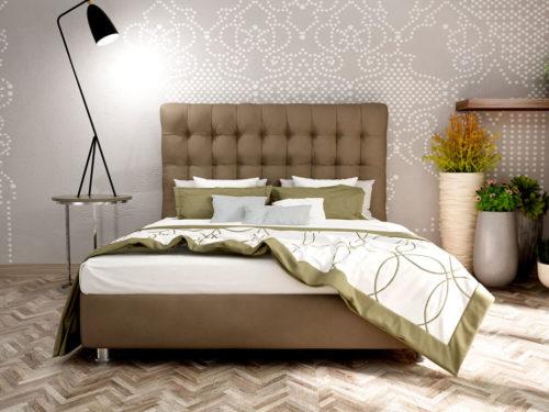 Διπλό ντυμένο κρεβάτι ΕΛΞΙΣ με στρώμα